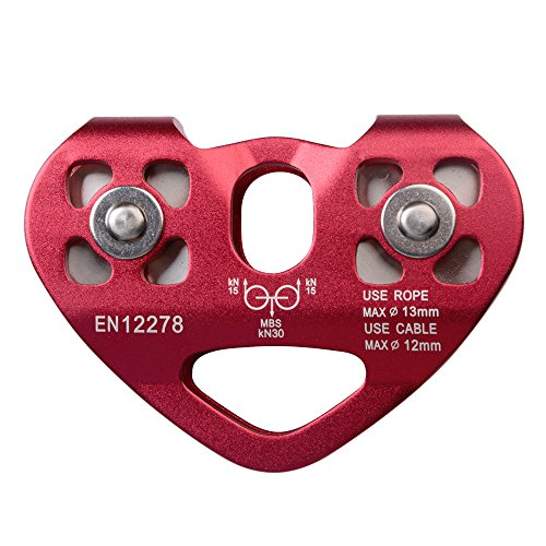 Amotor Mountaineering Climbing Rock 30KN / 6700lbs Zip Line / Wire Cable Trolley Pulley (Red) ()
