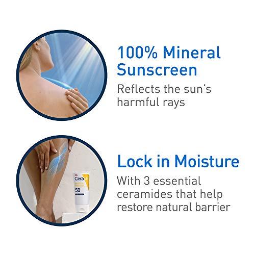 CeraVe 100% Mineral Sunscreen SPF 50 | Body Sunscreen with Zinc Oxide & Titanium Dioxide for Sensitive Skin | 5 oz, 1…