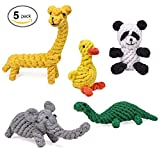 #6: HC-RET Dog Toy, Animal Design Cotton Rope Dog Toys with Puppy Pet Play Chew and Training Toy (Set of 5)
