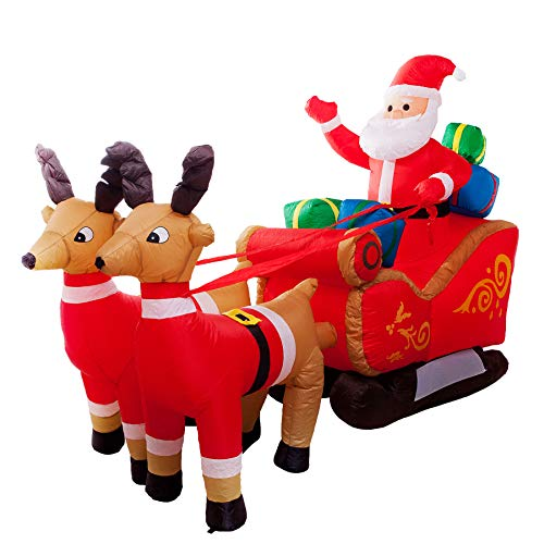 Athoinsu 8ft Lighted Christmas Inflatable Santa Claus with Gift in Sleigh Pulled by 2 Reindeer Self Inflating LED Lawn Yard Decoration Garden Home Holiday Party Prop