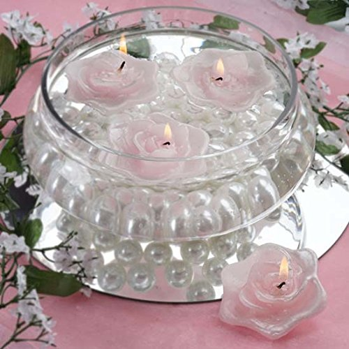 Efavormart Set of 20 Pink Unscented Floating Rose Candle for Wedding Party Birthday Centerpieces Home Decorations Supplies