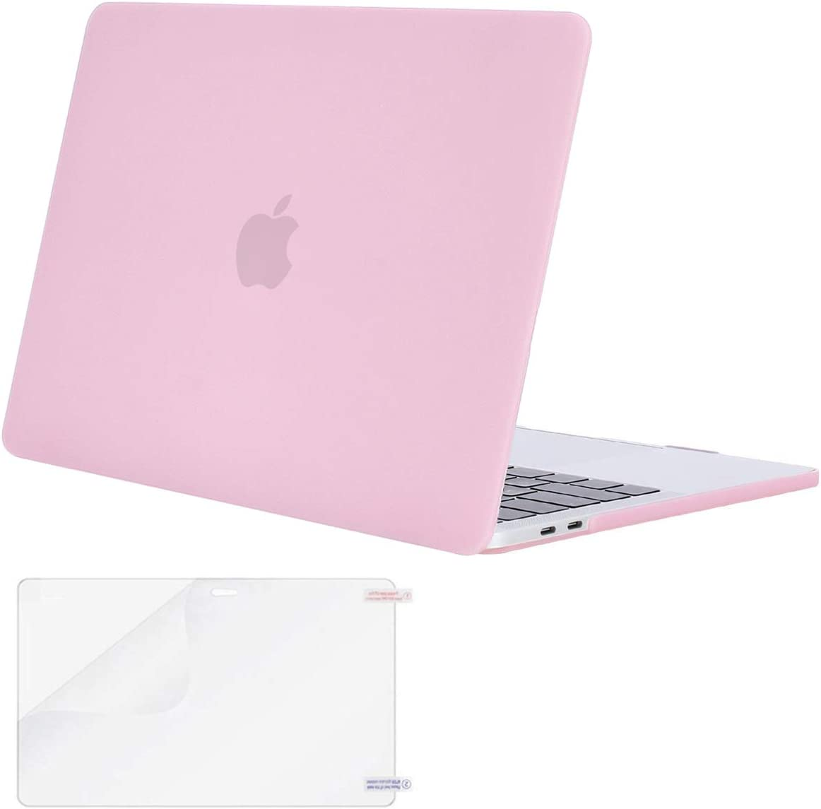 MOSISO MacBook Pro 13 inch Case 2019 2018 2017 2016 Release A2159 A1989 A1706 A1708, Plastic Hard Shell Case&Screen Protector Compatible with MacBook Pro 13 inch with/Without Touch Bar, Clear Pink
