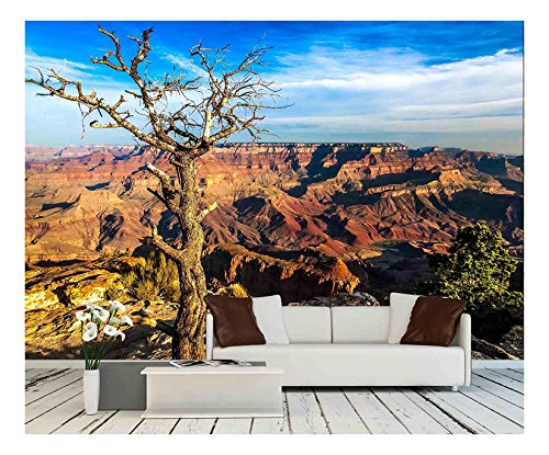 wall26 - Landscape View of Grand Canyon with Dry Tree in Foreground, Arizona, USA - Removable Wall Mural | Self-Adhesive Large Wallpaper - 66x96 inches