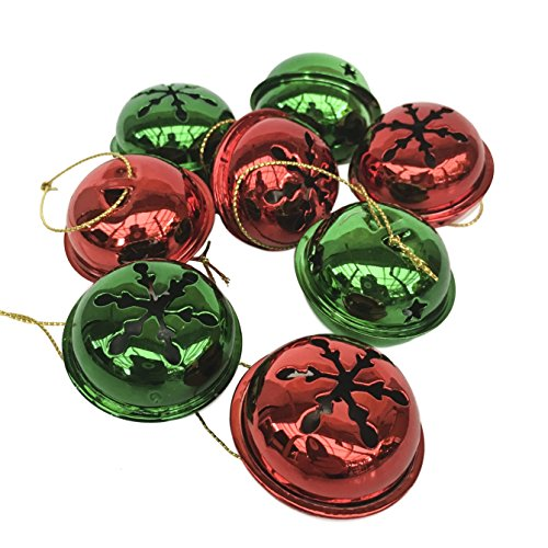 Happy Holidays Christmas Jingle Bell Hanging Ornaments, Large 1.5 inch, Set of 24 Bells (Red & ()