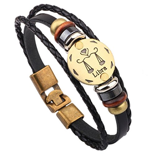 (HIRIRI Hot Sale Unisex 12 Constellations Bracelet Fashion Jewelry Alloy Leather Bracelet Personality Bracelet Gift (Libra))