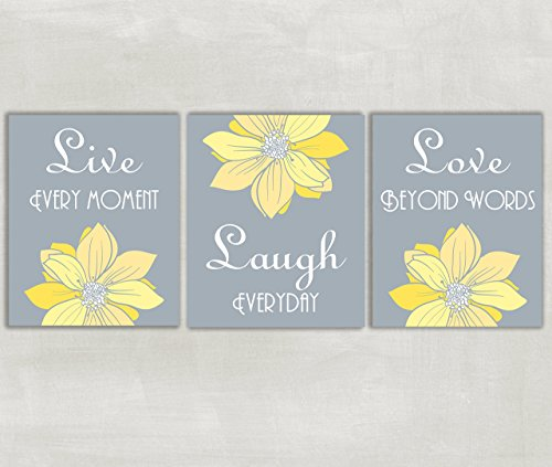 Live Laugh Love Yellow and Gray Wall Art Set of 3 5x7 or 8x10 Prints ((unframed))