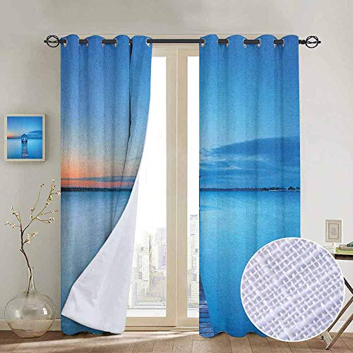 - Blackout Curtains Landscape,Sunrise Over Water Lakehouse Cabin Boardwalk Sun Rays Clouds Horizon Nature, Blue Orange Gray,Thermal Insulated Panels Home Décor Window Draperies for Bedroom a52