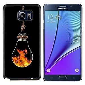 EJOOY---Cubierta de la caja de protección para la piel dura ** Samsung Galaxy Note 5 5th N9200 ** --Bombilla elemento simbólico Arte Moderno Fuego