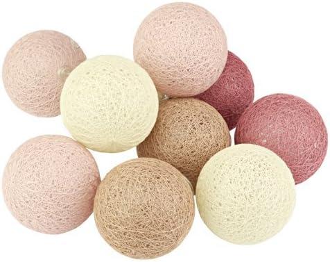Cadena de luces con bolas de algodón, 10 farolillos, colores ...