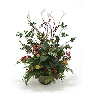 Distinctive Designs Berries, Cherry, Pear Sprays Magnolia, Bougainvillea, Cedar, Podocarpus in Glass Bowl Without Stand 85