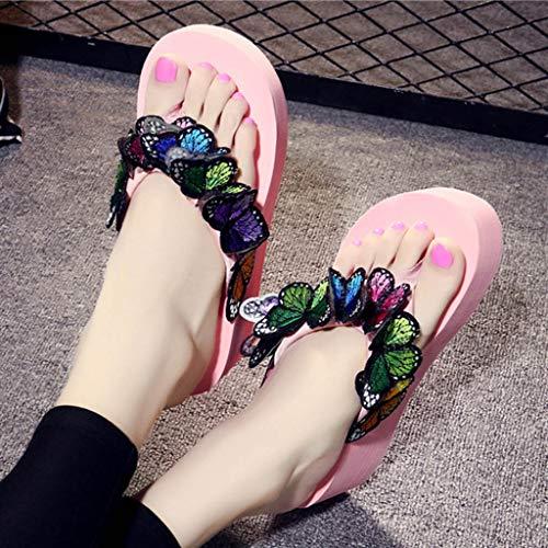 mounter Sandales Plage Mode Unie À Bohême Pour Pantoufles Couleur De Compensé Femmes Chaussures Chaussures Talon La Papillon Rose 2019 0AS0arnxq
