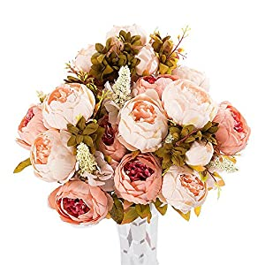 Digood Artificial Peony Silk Flowers, 2 Bouquet Fake Flowers Real Touch Decoration for Home Party Wedding (Beige) 50