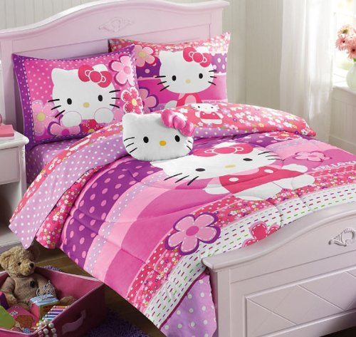Hello Kitty Pink & Purple Dots Twin Comforter & Sheet Set (4 Piece Bed In A Bag) + HOMEMADE WAX MELT