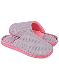 EverFoams Men's & Women's Two-Tone Comfy Memory Foam Slippers Terry Cloth Slip on House Shoes w/Anti-Skid Rubber Sole