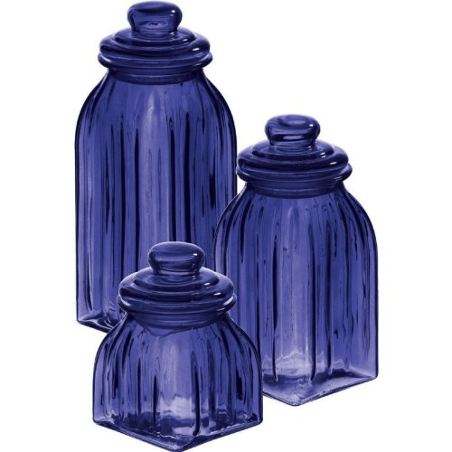 Cypress Home Navy Blue Glass Jars, Set of ()