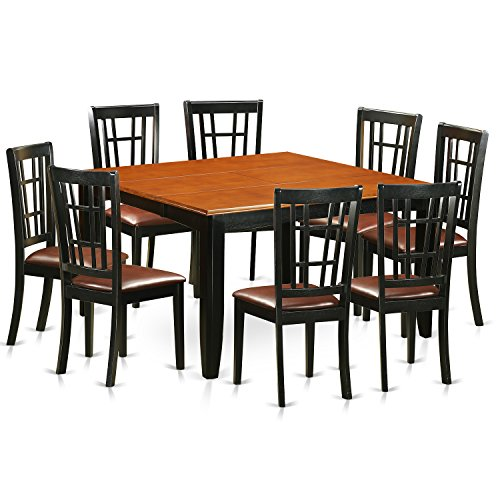 East West Furniture PFNI9-BCH-LC 9 PC Dining Room Set-Dining Table and 8 Wooden Dining Chairs
