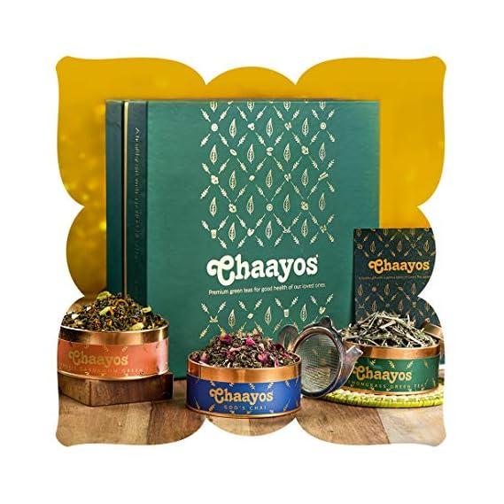 Chaayos Premium Tea Diwali Gift Box | Perfect Festival Gift | Immunity Boosting Green Teas & Infuser | Wellness Gift