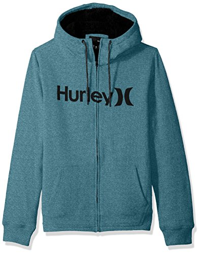Sweatshirt Mens Hurley (Hurley Men's Long Sleeve Sherpa Lined Zip up Hoodie, Space Blue, M)