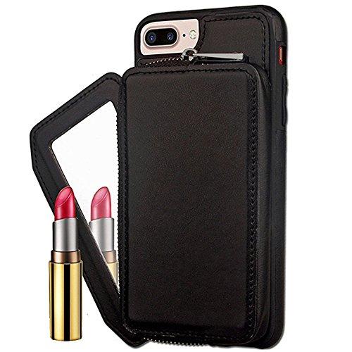 JIALUN-carcasa de telefono Para el iPhone 6 más y 6s más, contraportada con estilo retro de la PU de cuero de la carpeta de la caja con la cubierta grande de Shell de la bolsa de la cremallera de la c Black