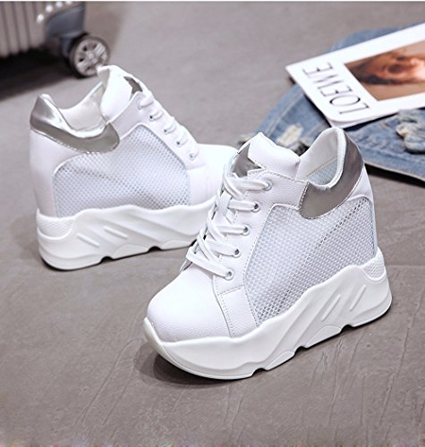 malla fondo Transpirable Moda Transpirable Ajunr plataforma zapatos tacones elegante Sandalias de grueso aumentado Sandalias bajo hembra cuñas Silver zapatos zapatos elegante de de Moda Ajunr Super 12cm qxX0SZX