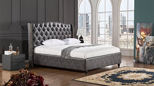 Superbe American Eagle Furniture Drake Collection Full Leather Air Fabric Bedroom  Bed With Tufted Headboard, Eastern