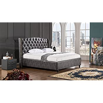 34416dc657da9 American Eagle Furniture B-D062-DG-EK Drake Collection Full Leather Air Fabric  Bedroom Bed with Tufted Headboard Eastern King Dark Gray
