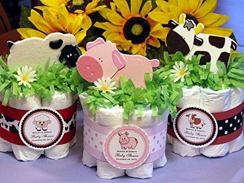 Barnyard Baby Diaper Cake (BARNYARD FARM ANIMALS Sheep Pig Cow Baby Shower Mini Diaper Cakes Centerpiece - Handmade by LMK)