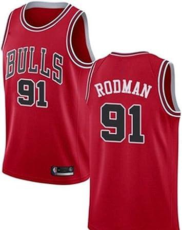 Camiseta de Baloncesto para Hombre # 91 Dennis Rodman Bulls, Conjunto de Baloncesto para Adultos Shorts Jersey Conjunto de Ropa Deportiva Tops de Jersey: Amazon.es: Deportes y aire libre