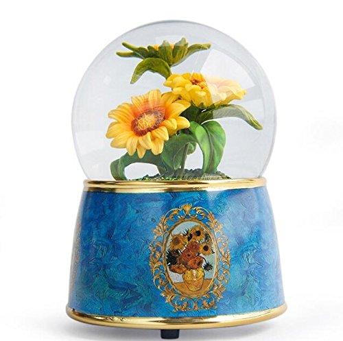 DOUERDOUYUU Safe and Environmental Friendly Van Gogh Creative Crystal Ball Music Box Resin Craft Ornaments For Birthday GiftSunflower
