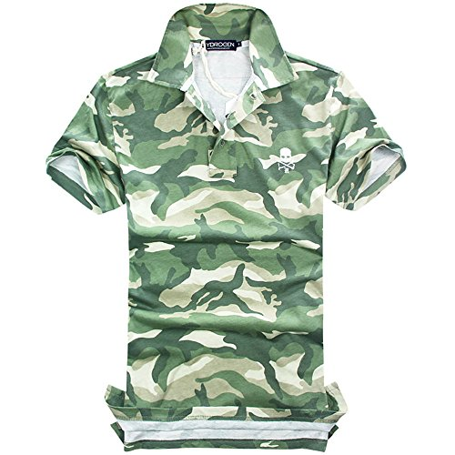 HYDROGEN ポロシャツ メンズ ゴルフ コットン 綿 100% 半袖 夏 プリント 7097 [並行輸入品]