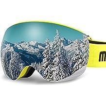 AKASO OTG Ski Goggles, Snowboard Goggles, Mag-Pro Magnetic Interchangeable Lenses, Anti-Fog, 100% UV Protection, Helmet Compatible, Snow Goggles Men & Women, Free Balaclava Ski Mask Included