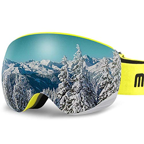 AKASO OTG Ski Goggles, Snowboard Goggles, Mag-Pro Magnetic Interchangeable Lenses, Anti-Fog, 100% UV Protection, Helmet Compatible, Snow Goggles for Men & Women, Free Balaclava Ski Mask - Ski Shape Snow