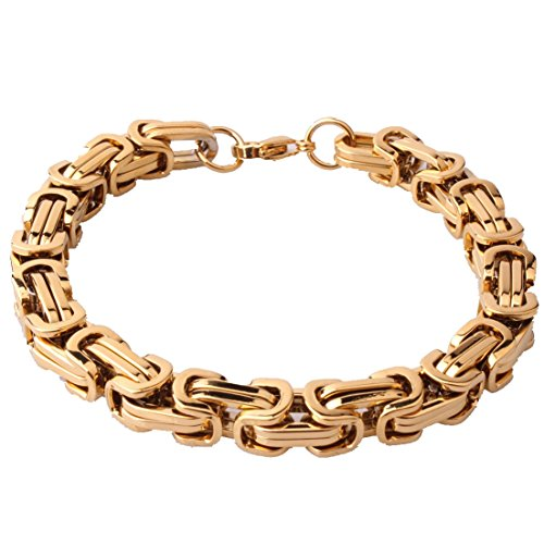 Men's Gold Plated Byzantine Chain Bracelet 4/5/8mm Stainless Steel Jewelry,7-11