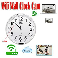 MDTEK@16GB TF Card+ HD 720p WiFi Min Spy Hidden Wall Clock Camera iPhone Android PC Mac Real Time Monitoring Remote Internet Recording P2P IP DVR Nanny Covert Wireless Home Security Nanny Cam DVR