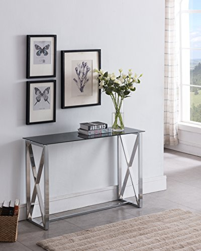 Contemporary Chrome Finish / Black Glass Top Console Sofa Table with Square Designs