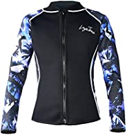 LayaTone Wetsuits Top Women Men 3mm Neoprene Jacket Tops Diving Surfing Suit Rash Guard Long Sleeevs Front YKK