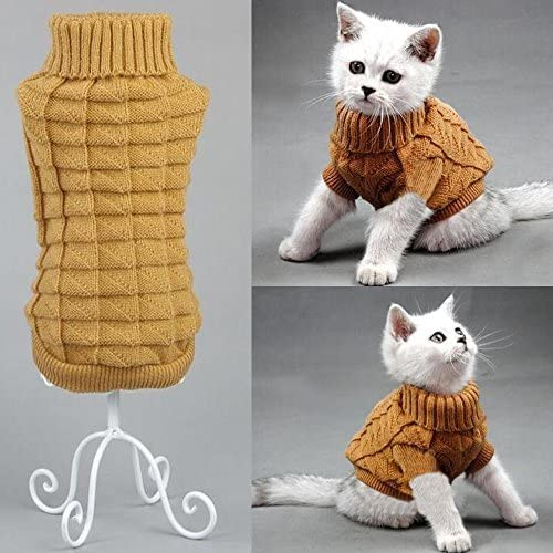 Bolbove Cable Knit Turtleneck Sweater for Small Dogs & Cats Knitwear Cold Weather Outfit 9