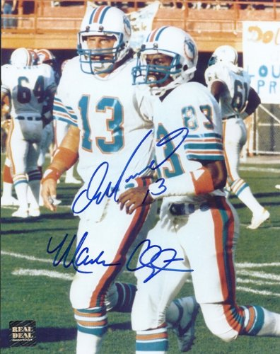 Dan Marino and Mark Clayton DUAL Signed - Autographed Miami Dolphins 8x10 inch Photo ()