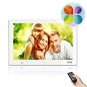 SSA 10-Inch HD Digital Photo Frame with Motion Sensor High Resolution IPS LCD 1080P MP3 Photo Video & Music Playback, Calendar & Remote Control Unique Design (White)