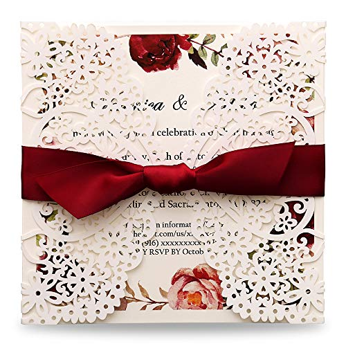 Dream Bulit Square Wedding Invitations Cards Fall Bridal, Baby Shower, Birthday Invitation Rehearsal Dinner Invites, Autumn Engagement with Wine Red Cardinal Red Bowknot Hollow,50pc W0003R]()