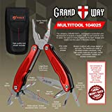 Best Red Multi-Tool 13-in-1 with Knife and Pliers - Utility Tool with Large Knife and Saw - Good for Camping, Hunting, Survival, Hiking and Outdoor Activities - Grand Way 104025