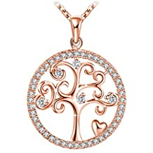 """J.Rosée Mothers Day Gifts Silver Necklace for Women 925 Sterling Silver 3A Cubic Zirconia Pendent Necklace Fine Jewelry Gift Packed """"Tree of Life""""(Rose Gold)"""