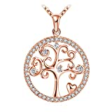 J.Rosée Necklace, 925 Sterling Silver Pendant Necklace Fine Jewelry for Women Tree the Best Gift for Mother(Rose Gold)