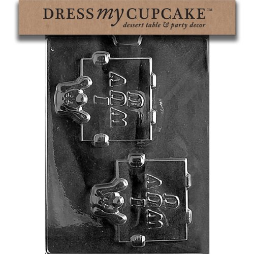 Dress My Cupcake DMCV086SET Chocolate Candy Mold, Sad Puppy I Wuv You, Set of 6