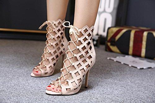 LvYuan-mxx Zapatos de los altos talones de las mujeres / verano del resorte / parte posterior hueco romana del laser de la rebeca / club nocturno atractivo / oficina y carrera Partido y vestido de noc BEIGE-US85EU39UK65CN40