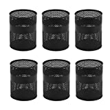 Pen Cups, 6 Pack Segarty Black Steel Mesh Desk Pen Pencil Holder, Round Pen Container Pencil Cups Desk Organizers for Home Office