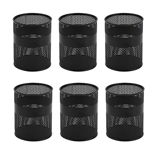 - Pen Cups, 6 Pack Segarty Black Steel Mesh Desk Pen Pencil Holder, Round Pen Container Pencil Cups Desk Organizers for Home Office