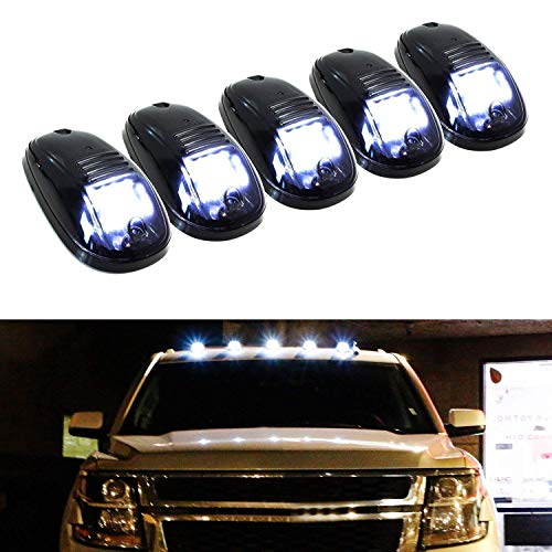 iJDMTOY 5pcs White LED Cab Roof Top Marker Running Lights For Truck SUV 4x4 (Black Smoked Lens Lamps) (2007 Chevy Silverado Cab Lights)