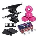 Cal 7 5.0 Inch Skateboard Trucks, 52mm Wheels, Plus Bearings Combo Set (Black truck with pink wheels)