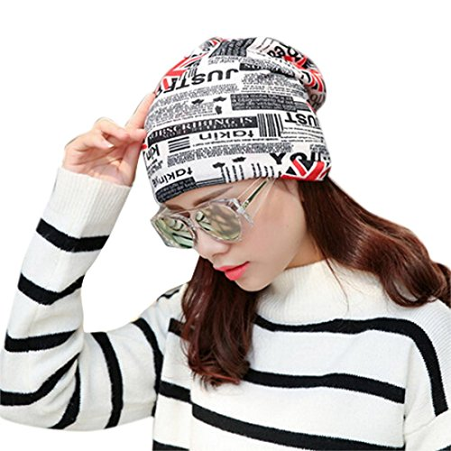 Sikye Women Stretchy M Word Printing Turban Head Wrap Band Bandana Pleated Caps (White)